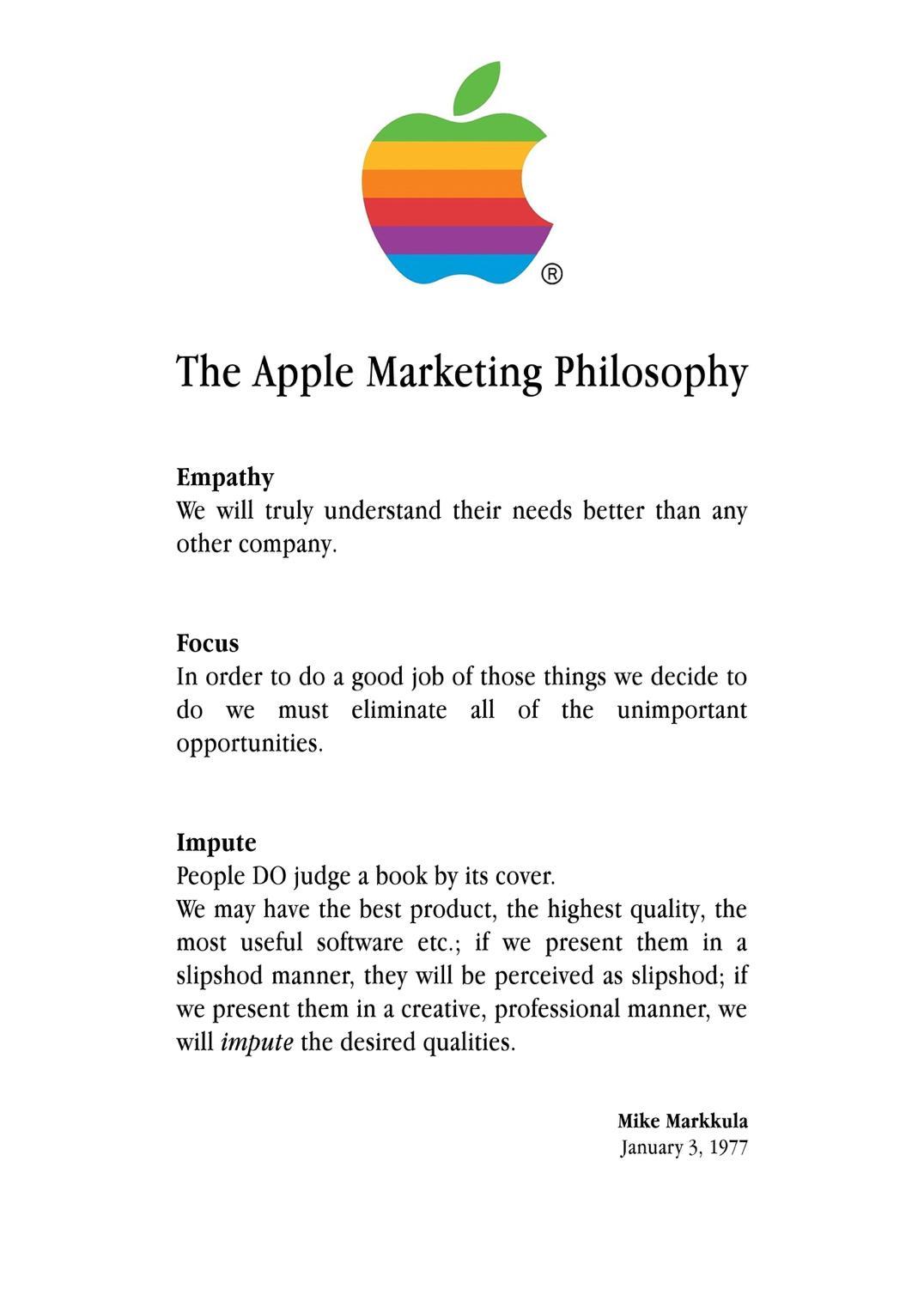 apple marketing philosophy 1977