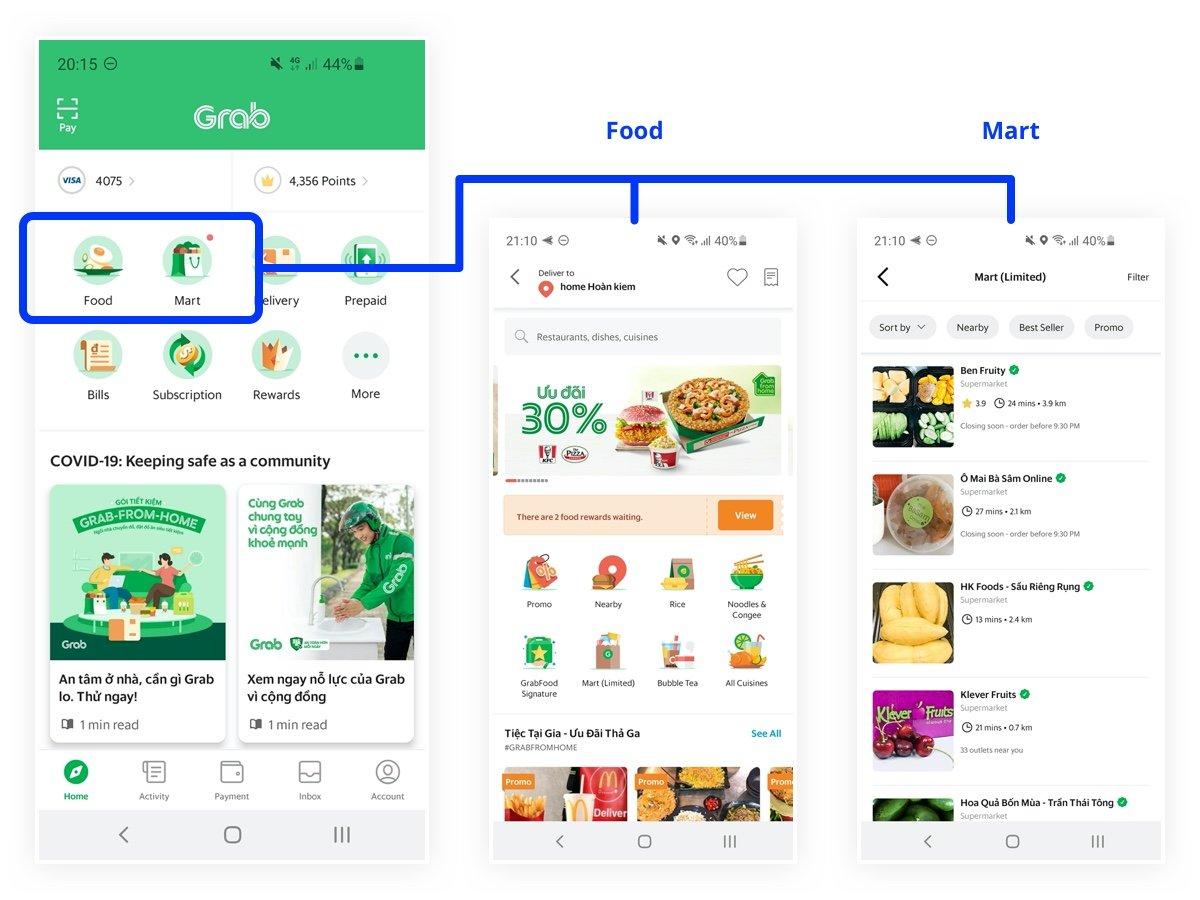 grab app change food and mart