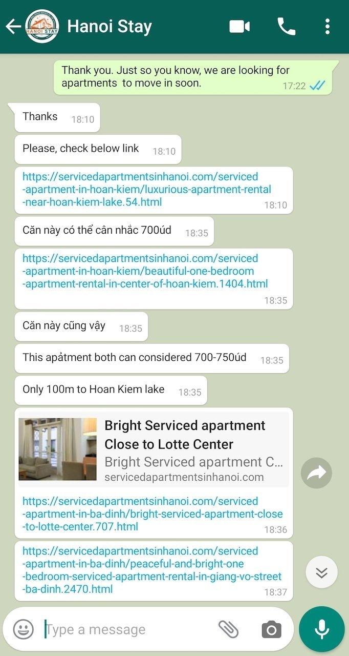whatsapp apartment hunting hanoi