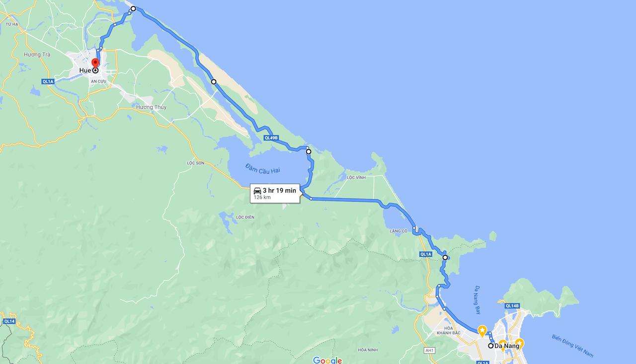 Danang to Hue Map