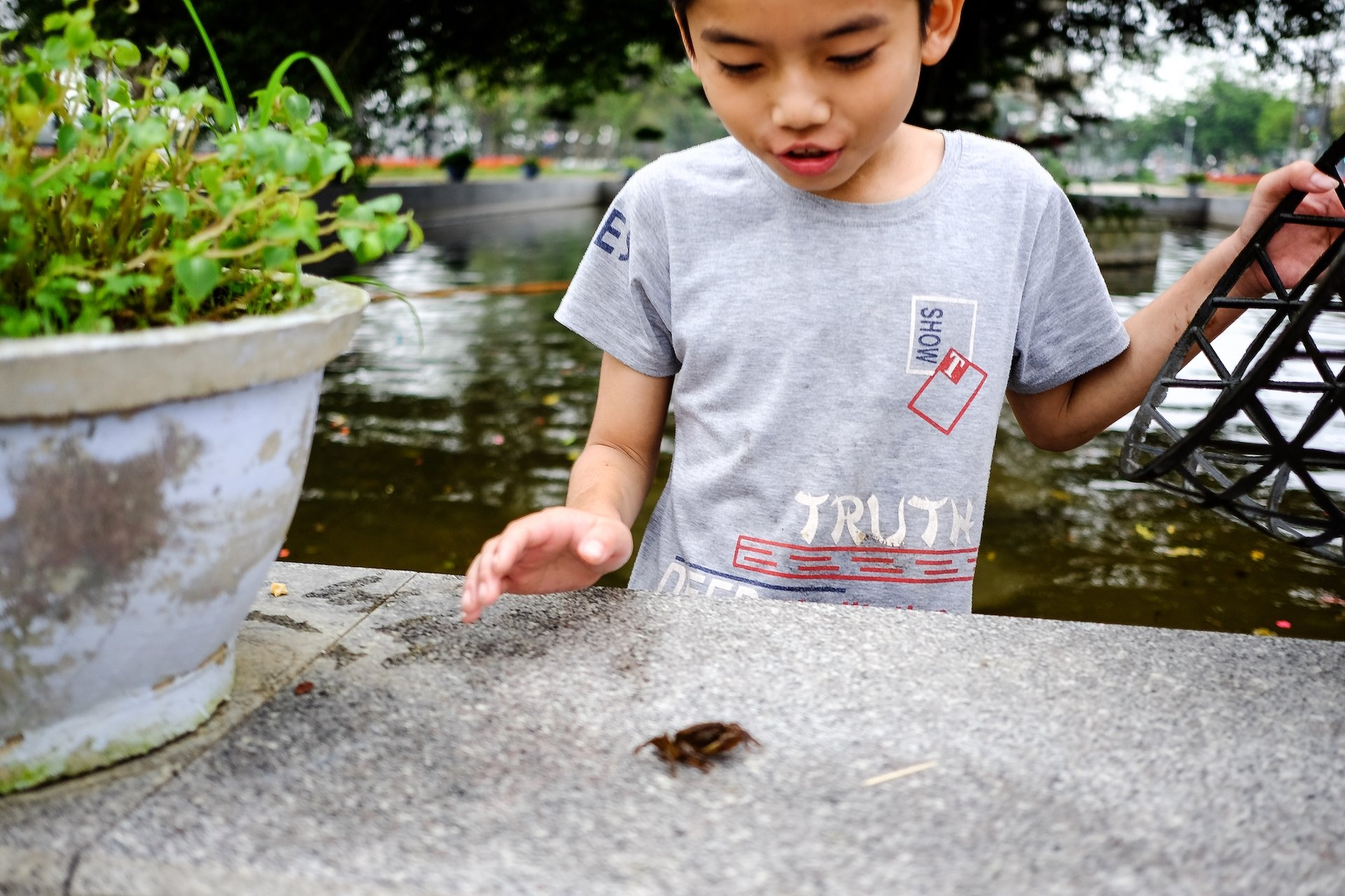 Hue Child hunting crabs 2
